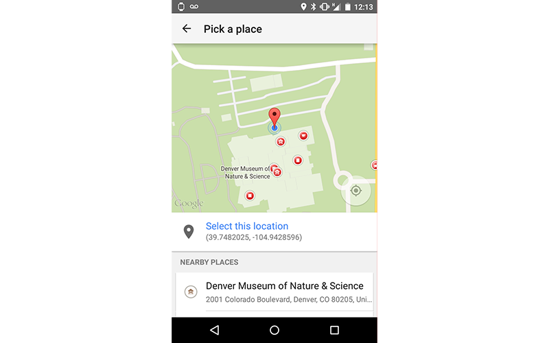Places API Place Picker