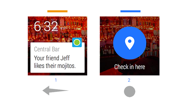 Android Wear Card and Action Button UI Design Pattern
