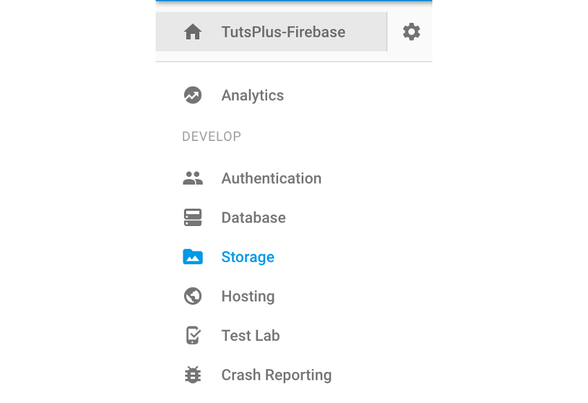 Firebase storage section navigation