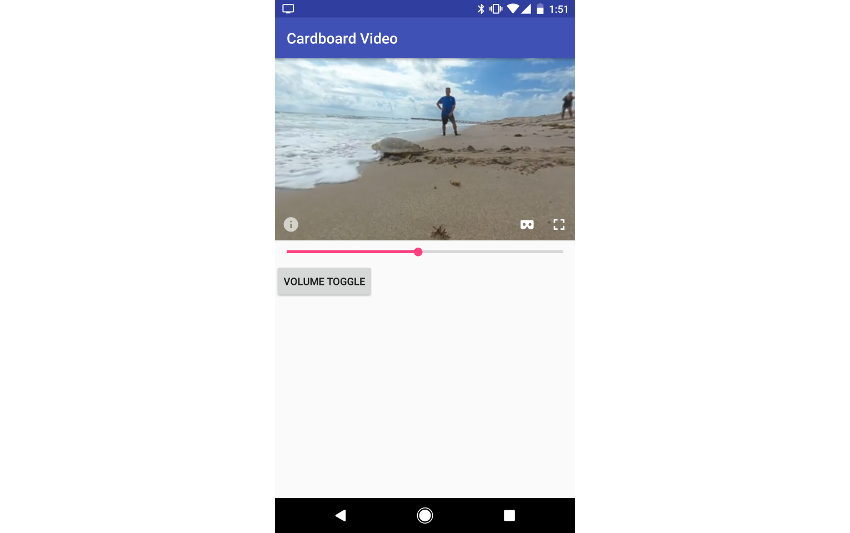 360 video player shown in app