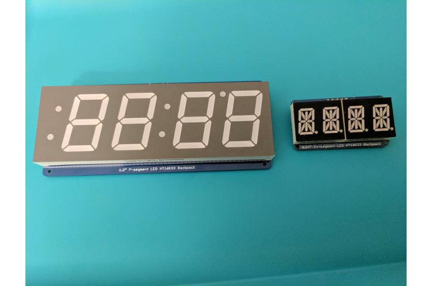 7-segment and 14-segment HT16K33 backpack displays