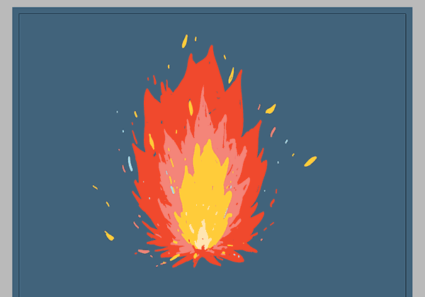 Finished drawing of a fire with multicolored flames