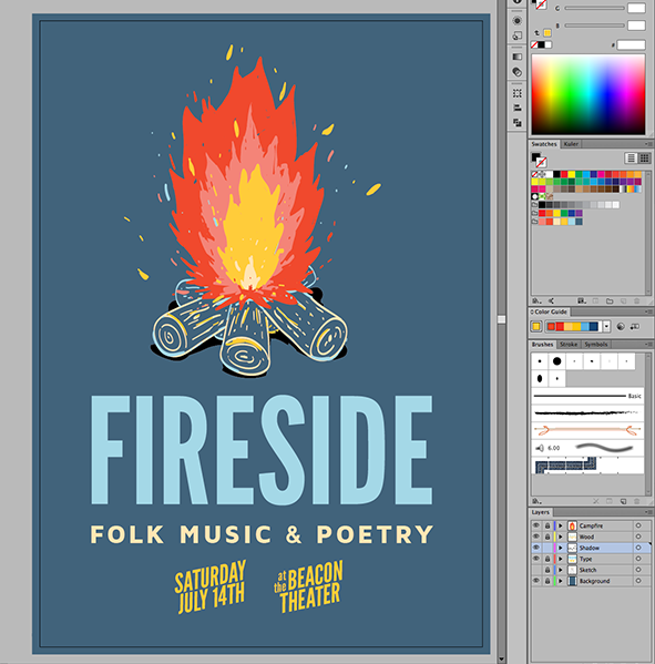 Fireside folk music and poetry poster design