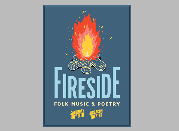 Folk music poster design in process