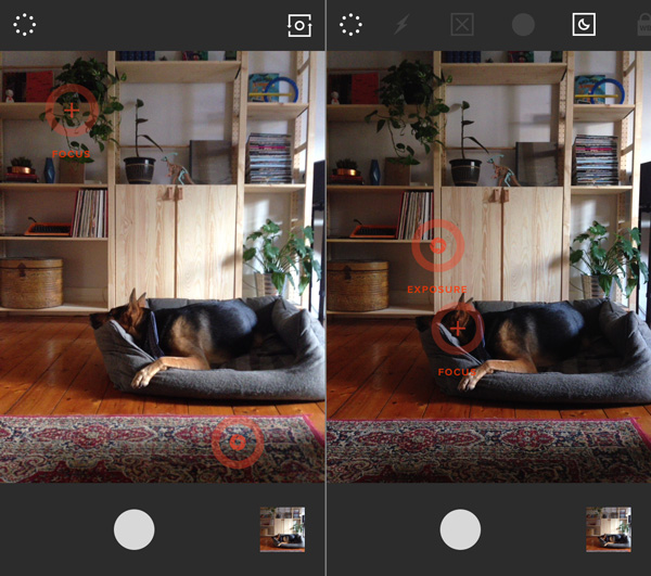 Two images demonstrating what happens when you separate the focus and exposure settings on VSCO Cam