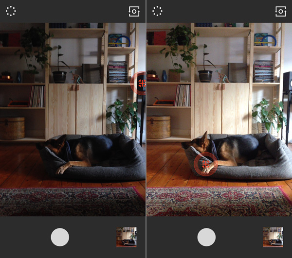 Two images demonstrating VSCO Cams focus and exposure setting