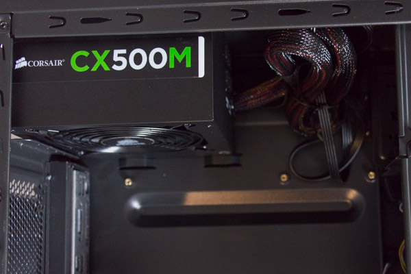The power supply mounted in the case