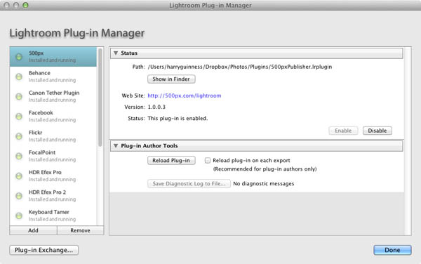 lightroom plugin manager screenshot
