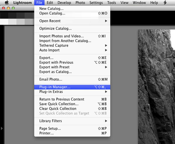 lightroom plugin manager menu
