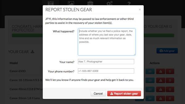 reporting stolen lenstag