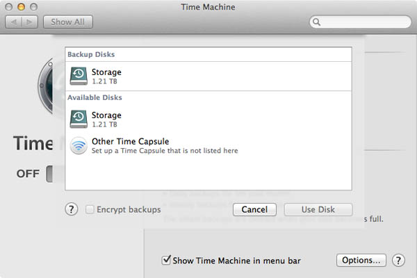 time machine backup disk select