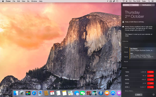 notification centre yosemite