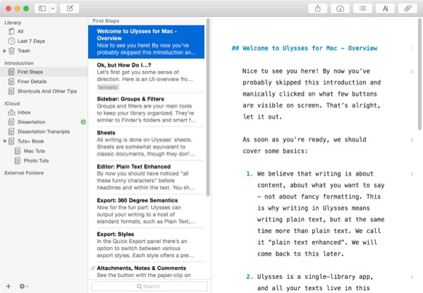 writing longform content on a mac with ulysses iii