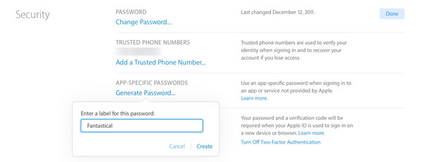 generating app specific password