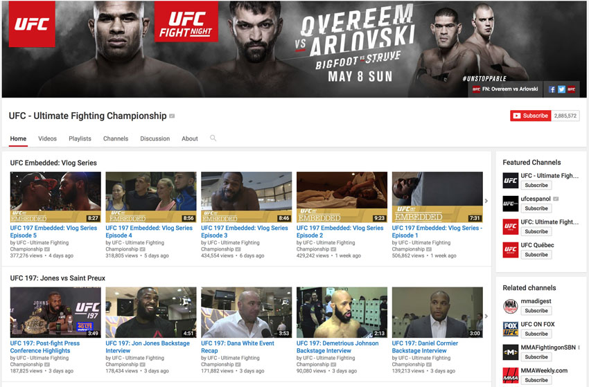 ufc youtube page