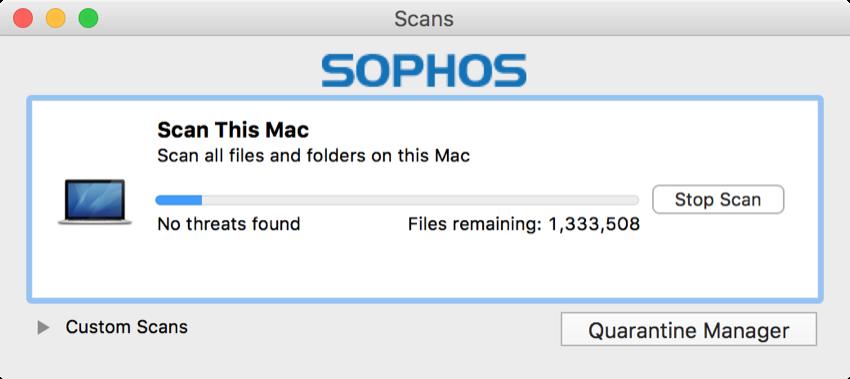 sophos scanning