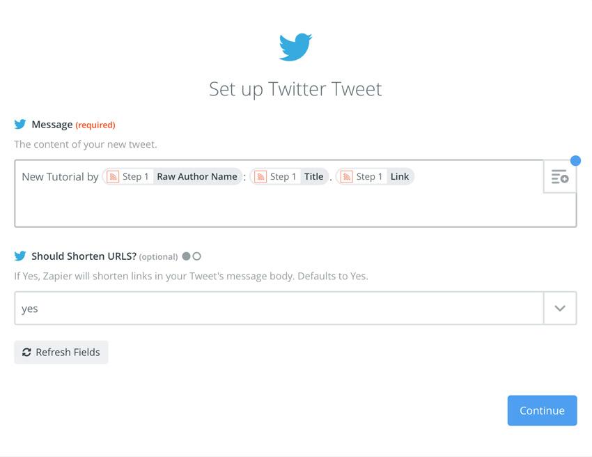 Zapier tweet template