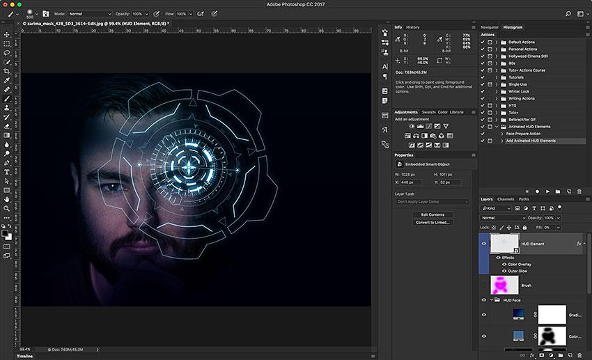 How to Make a Futuristic Animated HUD in Adobe Photoshop (With an Action)