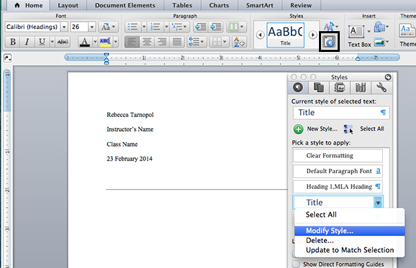 Modify title settings in Microsoft Word