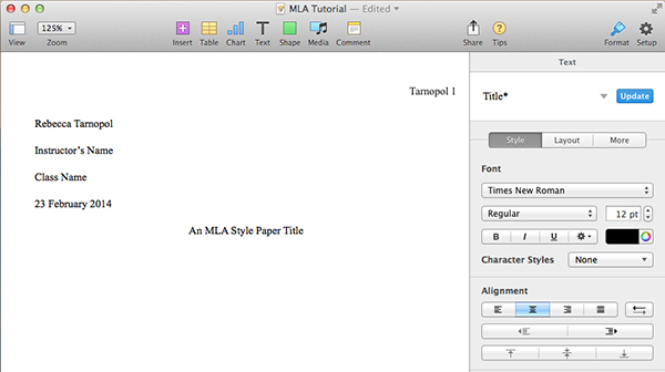 how to create an mla template in word and pages center and title case document title in pages