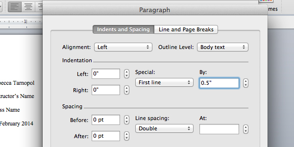Add indent settings in Microsoft Word