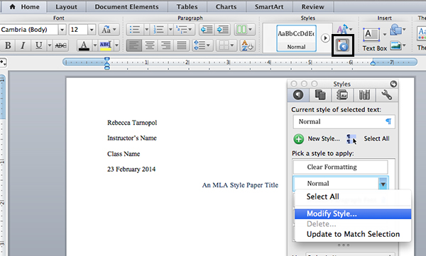 Modify the normal text style settings in Microsoft Word