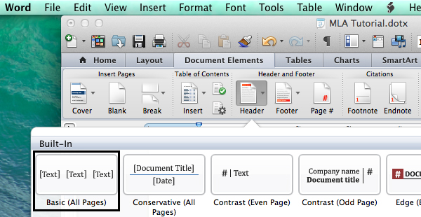 Set header options in Microsoft Word