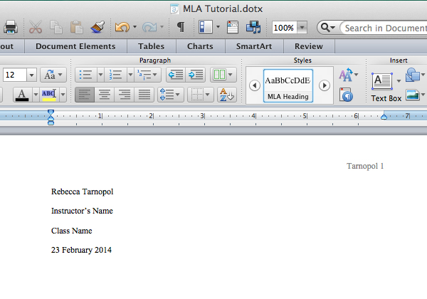 Add heading info in Microsoft Word