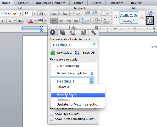 setting up a heading modify heading style in microsoft word