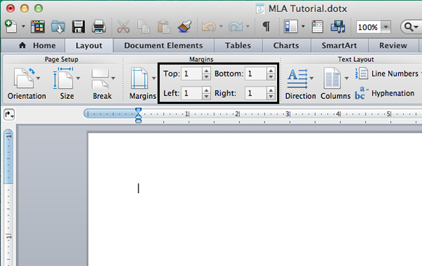 Set document margins in Microsoft Word