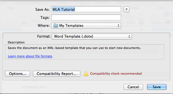 mla template word