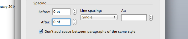 Change title spacing in Microsoft Word