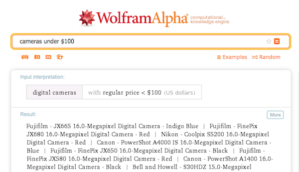 A WolframAlpha search for all cameras under 100