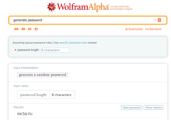 WolframAlpha generates random secure passwords