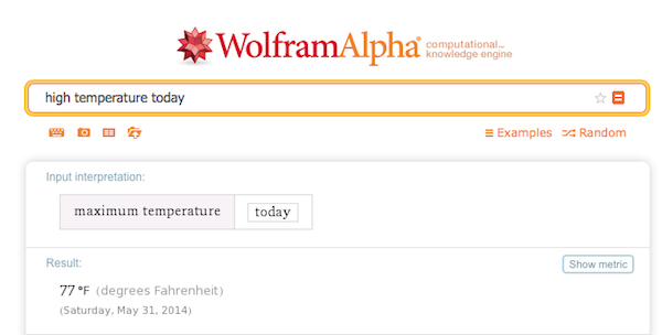 A WolframAlpha search query for high temperature today