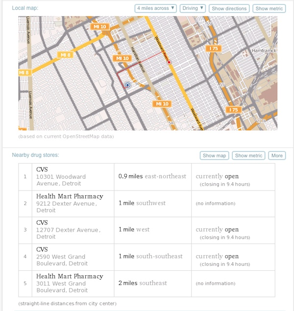 A WolframAlpha search for the nearest drugstore