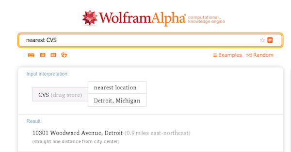 A WolframAlpha search for the nearest CVS store