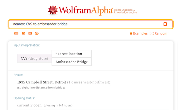 A WolframAlpha search for the nearest CVS to Ambassador Bridge