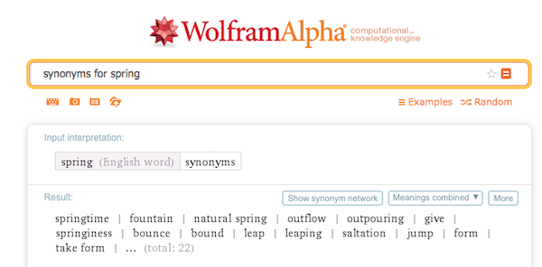 A WolframAlpha search for synonyms for spring