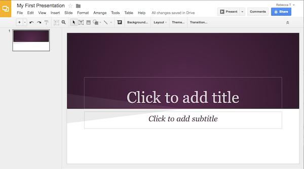 Google Presentations interface is similar to that of desktop presentation applications