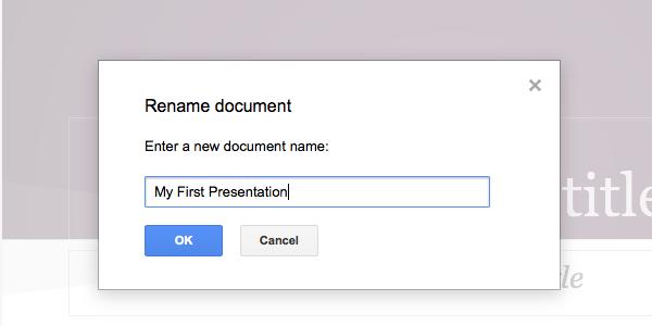 Rename the presentation