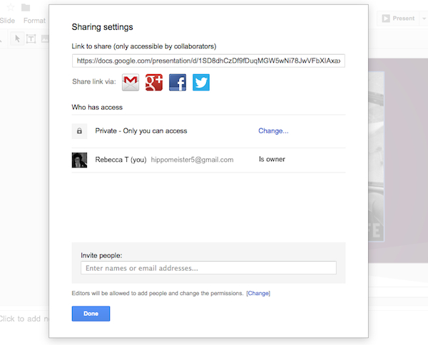 Google Presentationss sharing settings