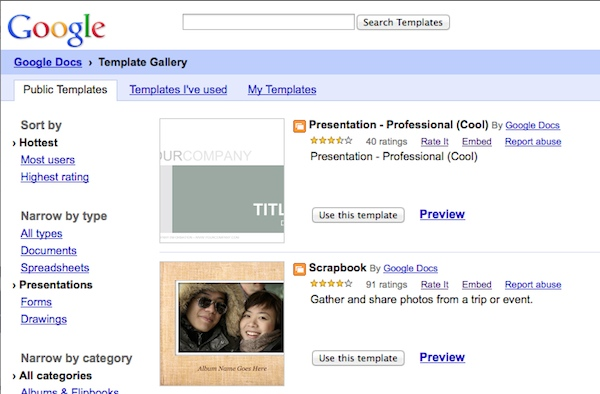 Googles Template Gallery hosts a stock of additional themes for presentations