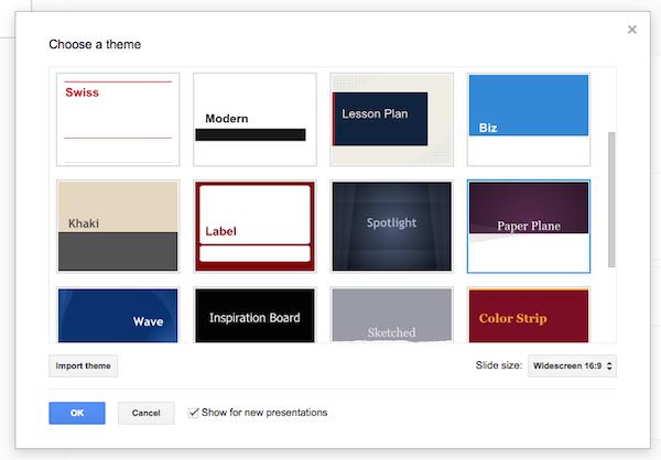A few of Google Presentationss default themes