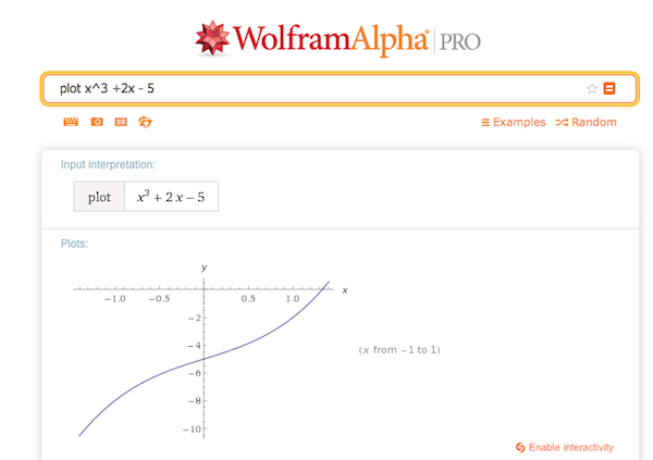Plotting a function in WolframAlpha