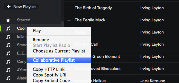 Right-click on the playlist and select Collaborative Playlist to create a collaborative playlist