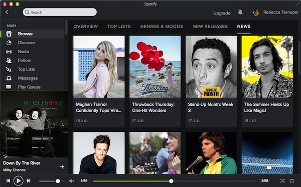 The Spotify News homepage
