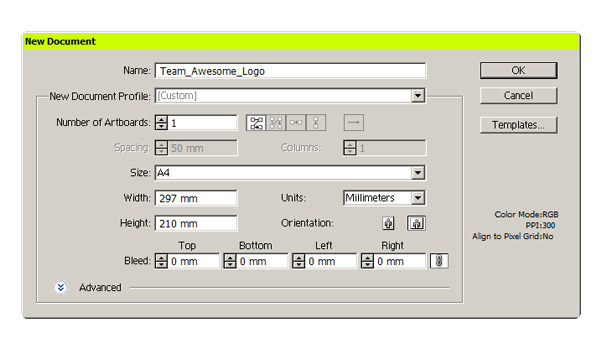 Illustrator dialog box to create a new file