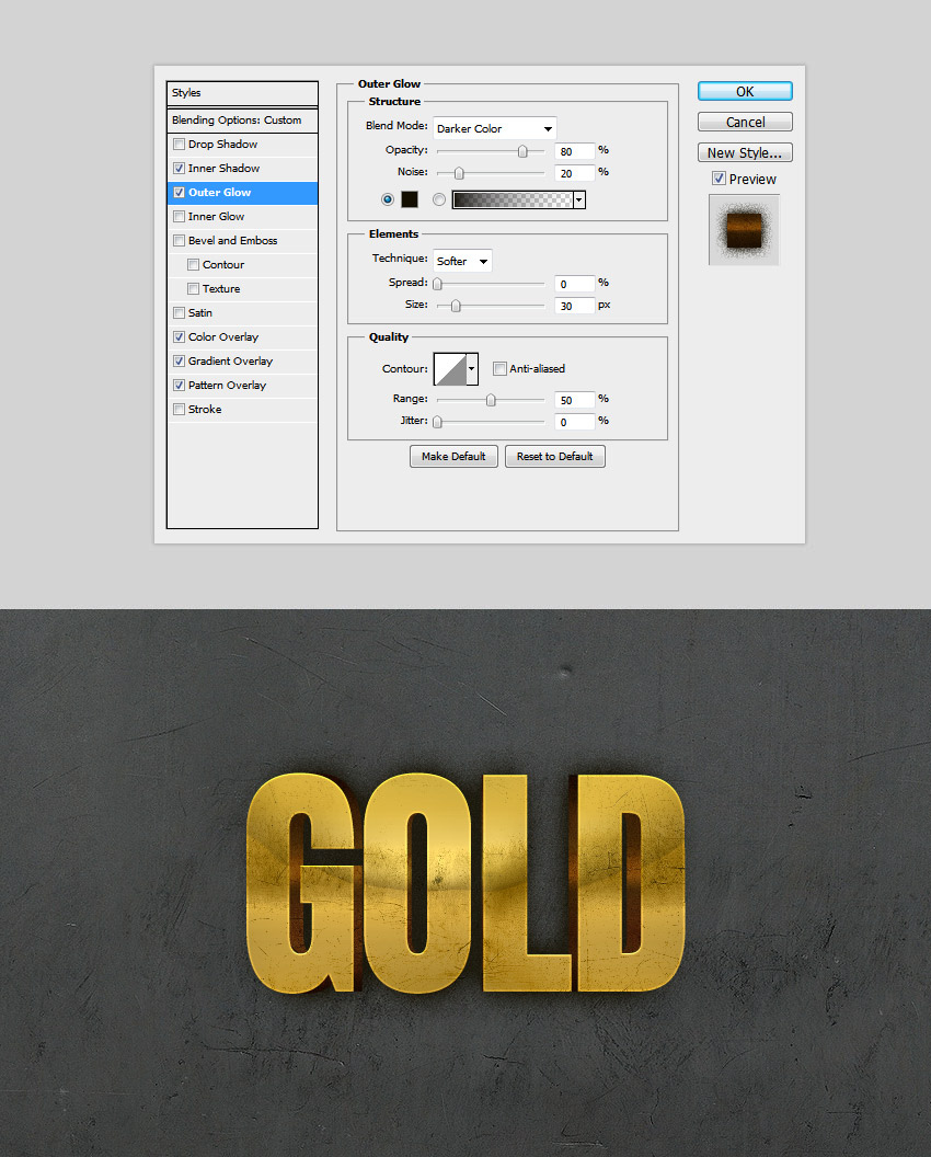 Shadow Outer Glow Gold Text Effect