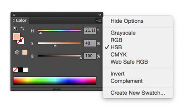 Hue saturation brightness color panel